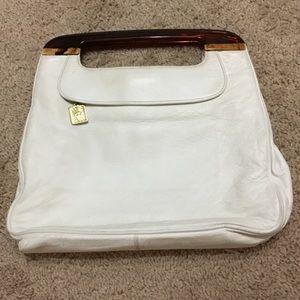 VTG Anne Klein white leather purse, lucite handles